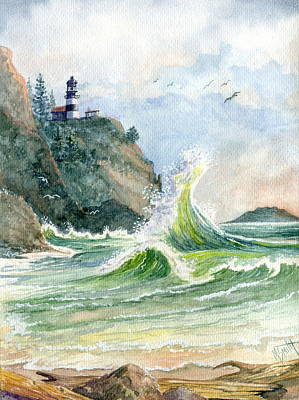 Poster featuring the painting Cape Disappointment Lighthouse by Marilyn Smith