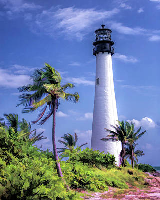 Poster featuring the painting Cape Florida Lighthouse by Christopher Arndt