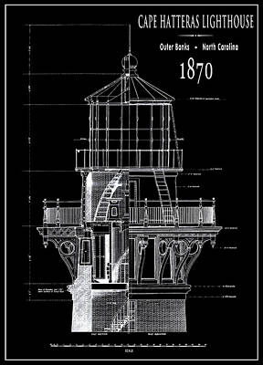 Cape Hatteras Lighthouse Engineering Drawing 1869 Poster by Daniel Hagerman
