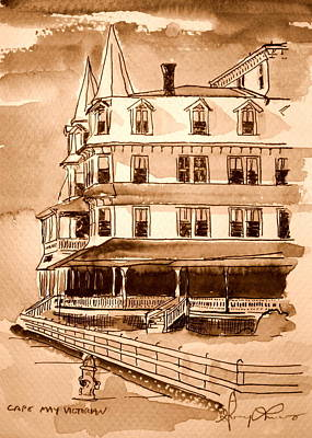 Cape May Victorian Sepia Poster