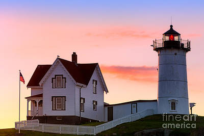 Cape Neddick Lighthouse Sunrise Poster by Jerry Fornarotto