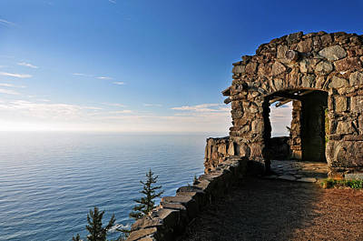 Poster featuring the photograph Cape Perpetua Stone Shelter by Lara Ellis