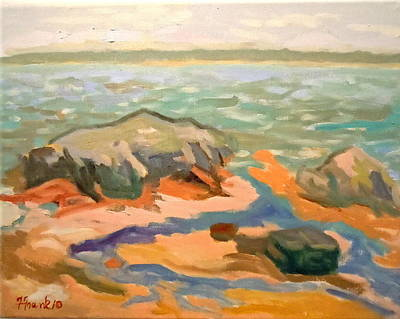Poster featuring the painting Cape Rosier Beach by Francine Frank