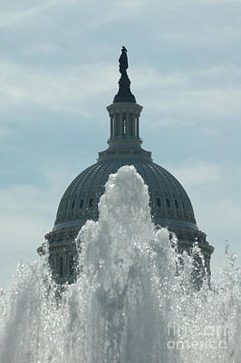 Capital Dome Behind Fountain Poster