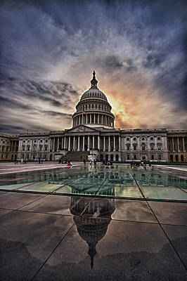 Capitol Building Against Setting Sun Poster