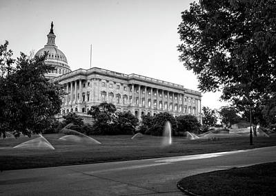 Capitol Hill Sprinklers In Black And White Poster by Greg Mimbs