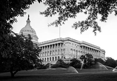 Capitol Lawn In Black And White Poster by Greg Mimbs
