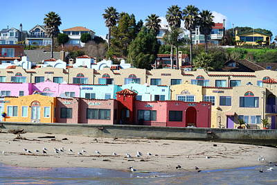 Capitola Beach Rentals Poster by Joyce Dickens