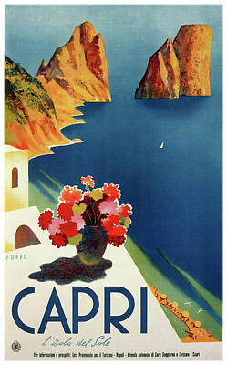 Capri Island Of The Sun - Italy Vintage Travel  1952 Poster by Daniel Hagerman