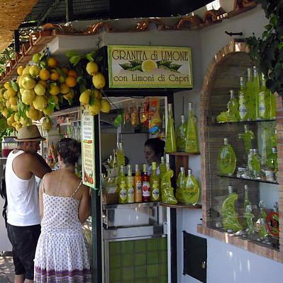 Capri Street Scene Con Limoni Poster