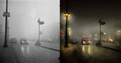 Poster featuring the photograph Car - Down A Lonely Road 1940 - Side By Side by Mike Savad