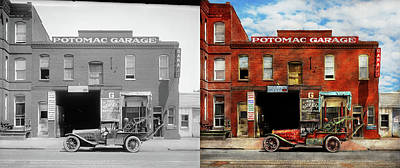 Poster featuring the photograph Car - Garage - Misfit Garage 1922 - Side By Side by Mike Savad