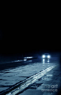 Car On A Rainy Highway At Night Poster by Jill Battaglia