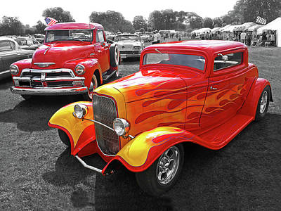 Car Show Fever - 54 Chevy With A 32 Ford Coupe Hot Rod Poster
