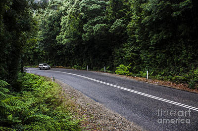 Car Travelling Through Rainforest In West Tasmania Poster by Jorgo Photography - Wall Art Gallery