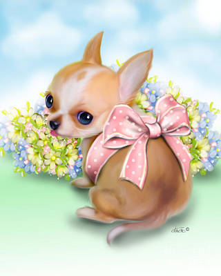 Poster featuring the painting Caramel Chihuahua Baby by Catia Lee