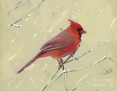 Cardinal Poster by Carrie Joy Byrnes