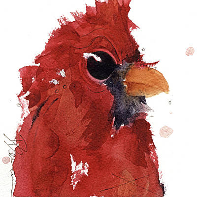 Poster featuring the painting Cardinal by Dawn Derman