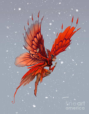 Poster featuring the digital art Cardinal Fairy by Stanley Morrison