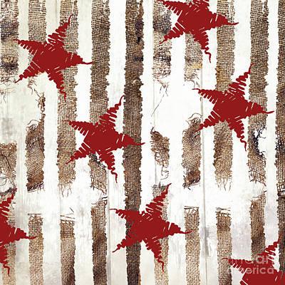 Cardinal Holiday Burlap Star Pattern Poster