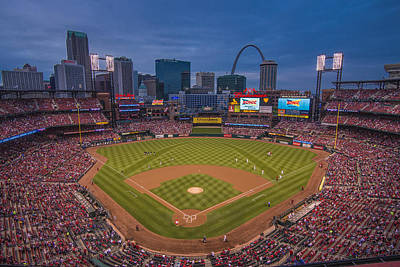 Cardinal Nation Busch Stadium St. Louis Cardinals Twilight 2015 Poster by David Haskett