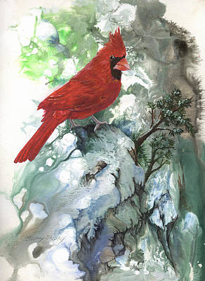 Poster featuring the painting Cardinal by Sherry Shipley