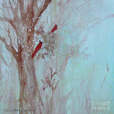 Poster featuring the painting Cardinals In Trees Whilst Snowing by Robin Maria Pedrero