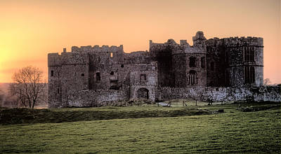 Carew Castle Coral Sunset Poster
