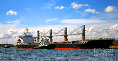 Cargo Ship And Tugboats  Poster
