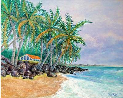 Poster featuring the painting Caribbean Retreat by Susan DeLain