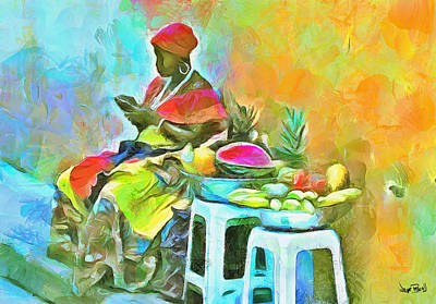 Caribbean Scenes - De Fruit Lady Poster by Wayne Pascall