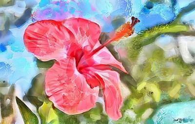 Caribbean Scenes - Hibiscus Poster by Wayne Pascall