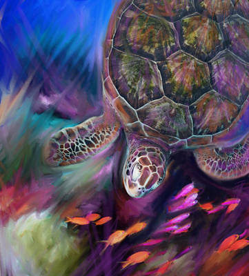Caribbean Sea Turtle Poster