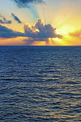 Poster featuring the photograph Caribbean Sunrise At Sea - Ocean - Sun Rays by Jason Politte