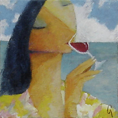 Poster featuring the painting Caribbean Wine Tasting by Glenn Quist