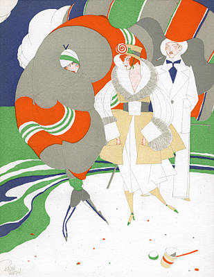 Caricature Of Flappers Wearing Furs Poster by Ralph Barton