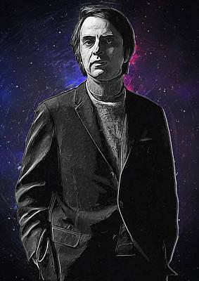 Carl Sagan Poster by Semih Yurdabak