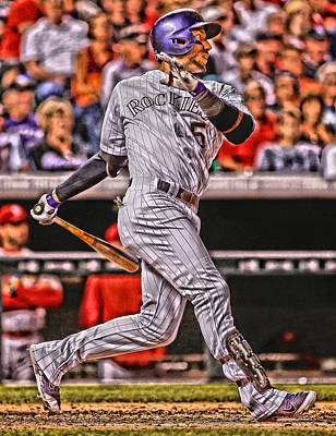 Carlos Gonzalez Colorado Rockies Art 2 Poster by Joe Hamilton
