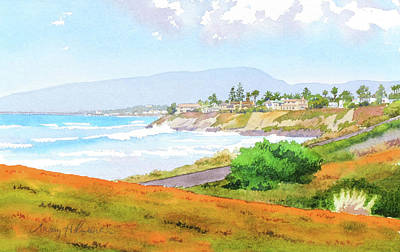 Carlsbad Rt. 101 Sunny Day Poster by Mary Helmreich