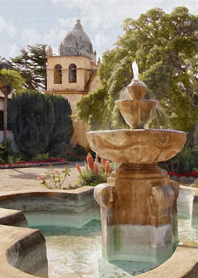 Carmel Fountain Courtyard Poster by Sharon Foster
