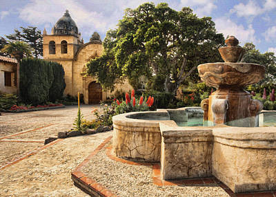 Carmel Mission And Fountain II Poster by Sharon Foster