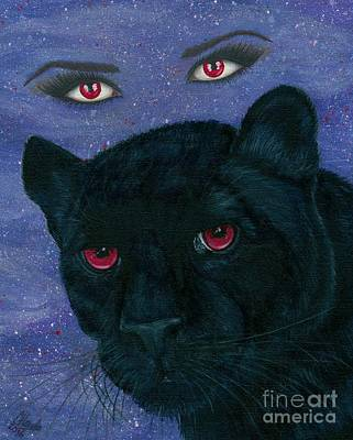 Poster featuring the painting Carmilla - Black Panther Vampire by Carrie Hawks
