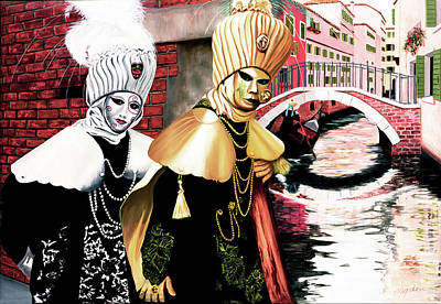 Carnevale Venecia - Commissioned Oil Painting Now In Print Poster
