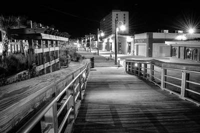 Carolina Beach Boardwalk Ramp In Black And White Poster
