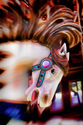 Carousel Horse Portrait Poster by Garry Gay
