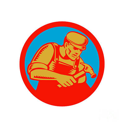 Carpenter With Hammer Circle Woodcut Poster