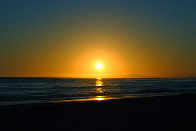 Carpinteria State Beach At Sunset Poster by Bransen Devey