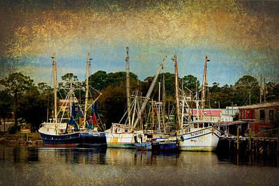 Carrabelle Shrimp Boats In Golden Light Poster by Carla Parris