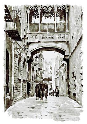 Carrer Del Bisbe - Barcelona Black And White Poster