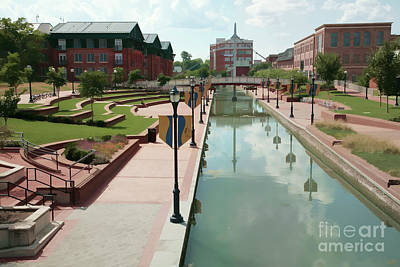 Carroll Creek Park In Frederick Maryland With Watercolor Effect Poster